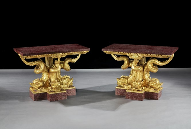 THE BRIDGWATER HOUSE PORPHYRY DOLPHIN TABLES
