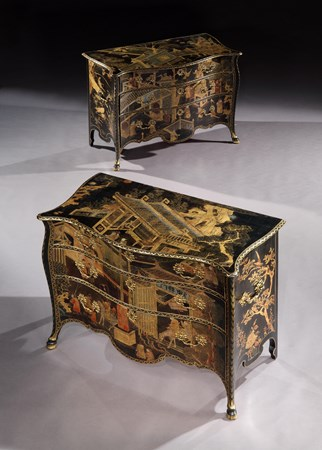 THE ST.GILES HOUSE COMMODES. A PAIR OF GEORGE III CHINESE LACQUER COMMODES ALMOST CERTAINLY BY JOHN COBB