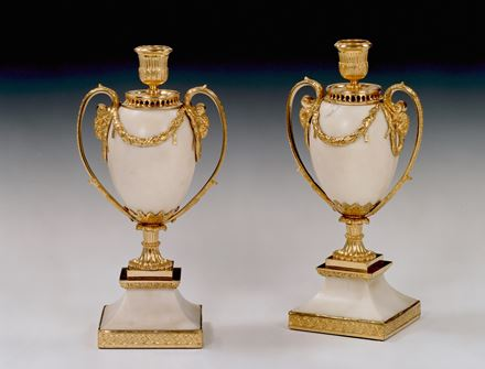 A PAIR OF GEORGE III WHITE MARBLE CANDLE VASES BY MATTHEW BOULTON