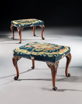 A PAIR OF GEORGE II MAHOGANY STOOLS