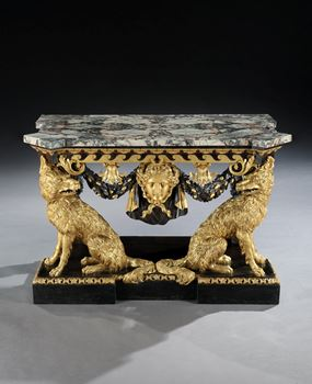 A GEORGE II PARCEL GILT SIDE TABLE ATTRIBUTED TO WILLIAM KENT