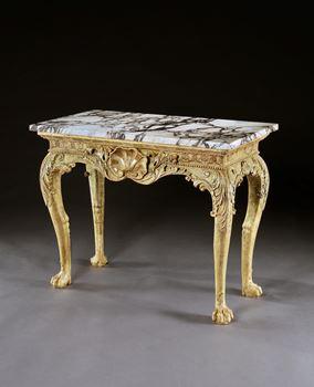 A GEORGE II GILTWOOD SIDE TABLE