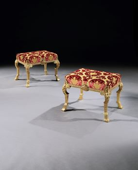A PAIR OF GEORGE I GESSO STOOLS ATTRIBUTED TO JAMES MOORE