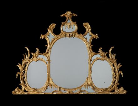 A GEORGE III GILTWOOD TRIPLE OVAL PLATE OVERMANTEL MIRROR