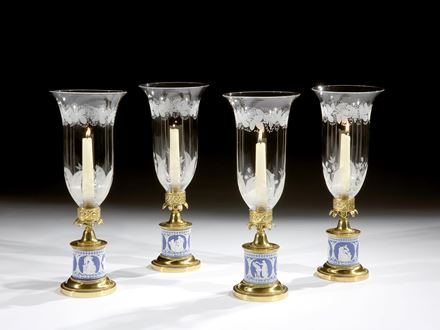 A SET OF FOUR REGENCY ORMOLU MOUNTED WEDGWOOD STORM LIGHTS