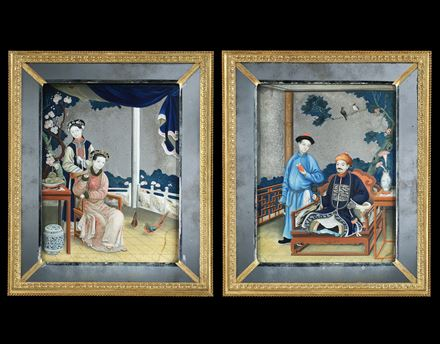 A PAIR OF GEORGE III PERIOD CHINESE EXPORT MIRROR PAINTINGS