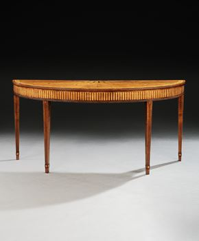 AN IRISH GEORGE III HAREWOOD MARQUETRY SEMI-ELLIPTIC SIDE TABLE ATTRIBUTED TO WILLIAM MOORE