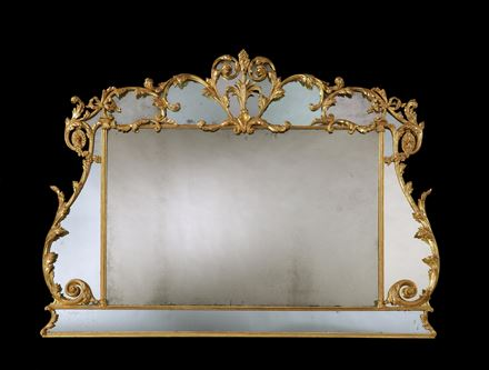 A GEORGE III GILTWOOD BORDER GLASS OVERMANTEL MIRROR