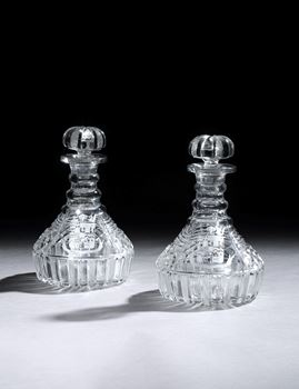A PAIR OF GEORGE IV CUT GLASS SHIP'S DECANTERS FROM THE LAMBERT SERVICE