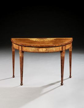A PAIR OF GEORGE III DEMI-LUNE HAREWOOD MARQUETRY CARD TABLES ATTRIBUTED TO JOHN LINNELL
