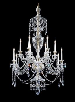 A GEORGE III TWELVE LIGHT CUT GLASS CHANDELIER ATTRIBUTED TO PARKER & PERRY