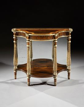 A GEORGE III BRASS MOUNTED PARCEL GILT ROSEWOOD CONSOLE TABLE