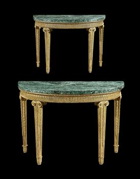 A PAIR OF GEORGE III SEMI-ELLIPTIC GILTWOOD SIDE TABLES
