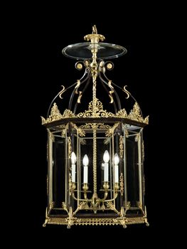 A HUGE REGENCY HEXAGONAL BRASS LANTERN ATTRIBUTED TO WILLIAM COLLINS