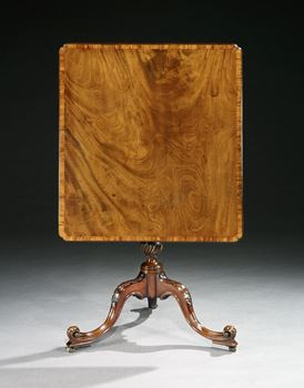A GEORGE III MAHOGANY AND GONCALO ALVES BANDED TRIPOD TABLE ATTRIBUTED TO THOMAS CHIPPENDALE