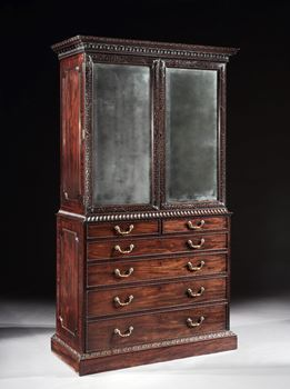 A GEORGE III MAHOGANY CABINET ATTRIBUTED TO WILLIAM VILE