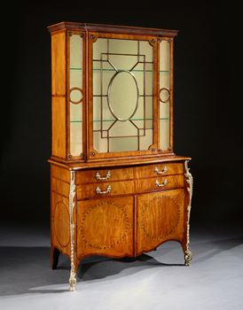 A GEORGE III GILT-BRASS MOUNTED INLAID FUSTIC SECRETAIRE CABINET ALMOST CERTAINLY BY THOMAS CHIPPENDALE