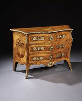 A GEORGE III ORMOLU MOUNTED KINGWOOD COMMODE ATTRIBUTED TO PIERRE LANGLOIS