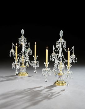 A PAIR OF GEORGE III ORMOLU MOUNTED CUT GLASS AND TRICOLOUR JASPER TWO LIGHT CANDELABRA BY PARKER & PERRY