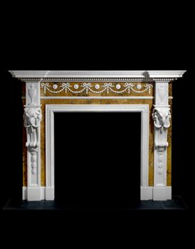 A GEORGE III STATUARY AND SIENNA MARBLE CHIMNEY PIECE BY JOSEPH WILTON AND DESIGNED BY JOSEPH BONOMI