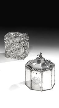 A GEORGE III SILVER OCCASIONAL TEA CADDY BY EDWARD DARVILL