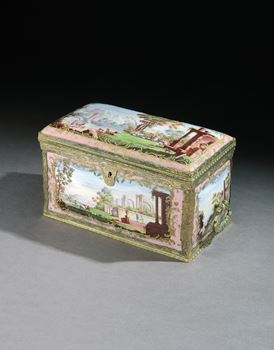 A GEORGE III SOUTH STAFFORDSHIRE ENAMEL TEA CHEST