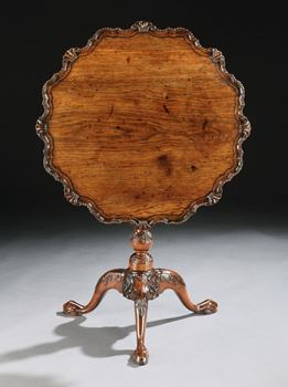 A GEORGE II ANGLO-CHINESE ROSEWOOD TRIPOD TABLE