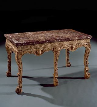 A GEORGE II GILTWOOD SIDE TABLE