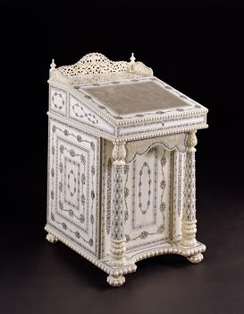 AN EXTREMELY RARE ANGLO-INDIAN IVORY AND PENWORK DAVENPORT DESK SIGNED BY YENDAPILL VERASALINGUM