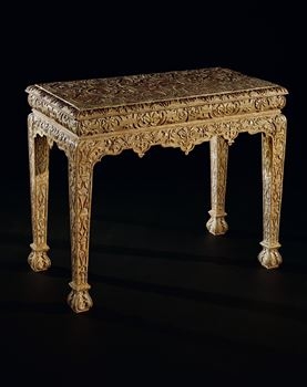 A WILLIAM AND MARY GILT GESSO SIDE TABLE