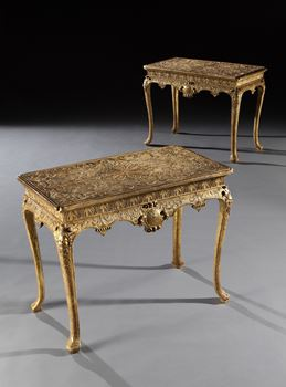 A PAIR OF GEORGE I GILT GESSO SIDE TABLES ATTRIBUTED TO JAMES MOORE THE ELDER