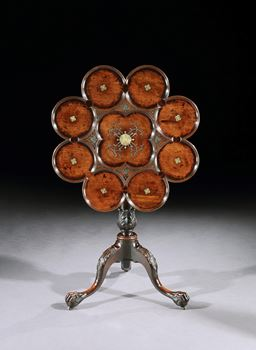 A GEORGE II PEWTER AND BRASS INLAID MAHOGANY TRIPOD TABLE ATTRIBUTED TO FREDERICK HINTZ