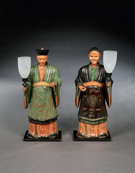 A PAIR OF REGENCY FIGURES OF A MANDARIN AND HIS CONSORT MOUNTED WITH LAMPS