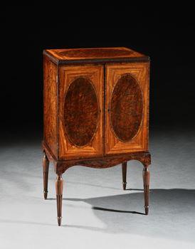 A GEORGE III SATINWOOD AND YEW WOOD COLLECTOR'S CABINET ON STAND ATTRIBUTED TO JOHN LINNELL