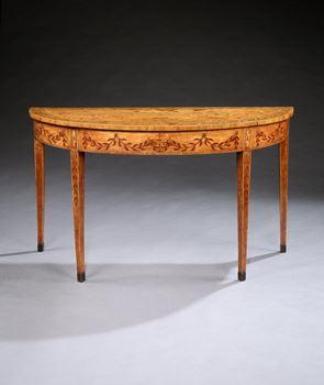 A GEORGE III SATINWOOD SIDE TABLE ATTRIBUTED TO CHARLES ELLIOTT