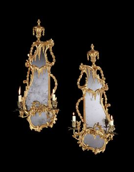 A PAIR OF GEORGE III GILTWOOD TWIN LIGHT GIRANDOLES