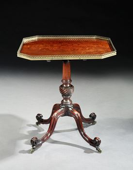 A REGENCY BRASS MOUNTED MAHOGANY PILLAR TABLE