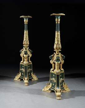 A PAIR OF REGENCY PARCEL GILT TORCHÈRES IN THE MANNER OF GEORGE SMITH
