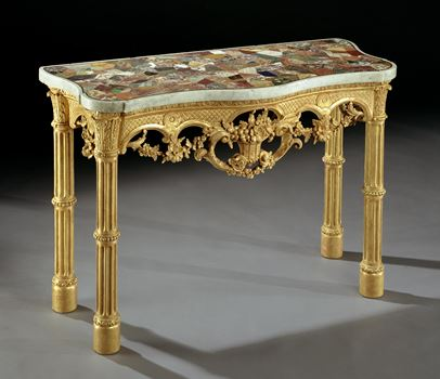 A GEORGE III GILTWOOD SIDE TABLE
