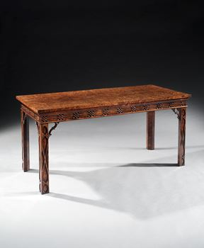 A GEORGE III BURR YEW AND PADOUK SIDE TABLE ALMOST CERTAINLY BY THOMAS CHIPPENDALE