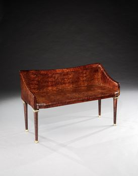 A VICTORIAN FUSTIC VENEERED HALL BENCH