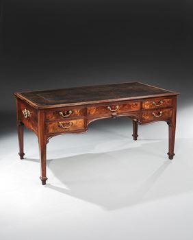A GEORGE II MAHOGANY WRITING TABLE