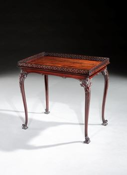 A GEORGE III MAHOGANY SILVER TABLE
