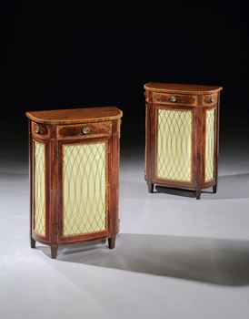 A SMALL PAIR OF GEORGE III MAHOGANY D-SHAPED SIDE CABINETS