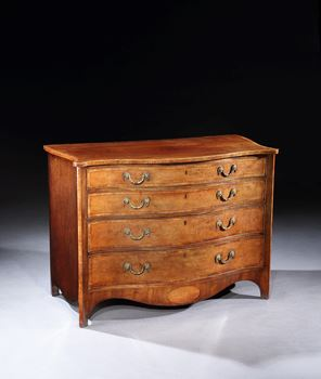 A GEORGE III SATINWOOD AND MAHOGANY CHEST OF DRAWERS