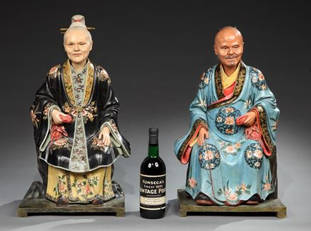 A HUGE PAIR OF GEORGE III CHINESE EXPORT 'NODDING HEAD' FIGURES