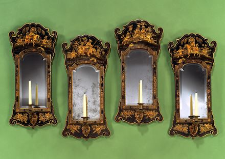 A SET OF FOUR GEORGE I BLUE JAPANNED GIRANDOLES ATTRIBUTED TO GILES GRENDEY
