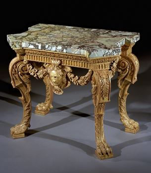 A HIGHLY IMPORTANT GEORGE II GILTWOOD SIDE TABLE