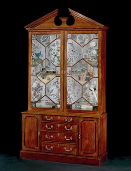 AN EXCEPTIONALLY RARE MIRROR PAINTING CABINET