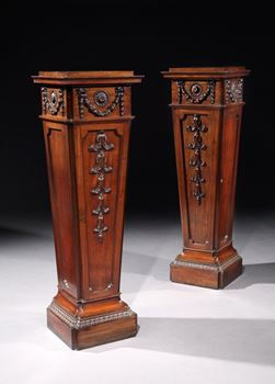 A RARE PAIR OF GEORGE III MAHOGANY PEDESTAL CUPBOARDS ATTRIBUTED TO VILE & COBB